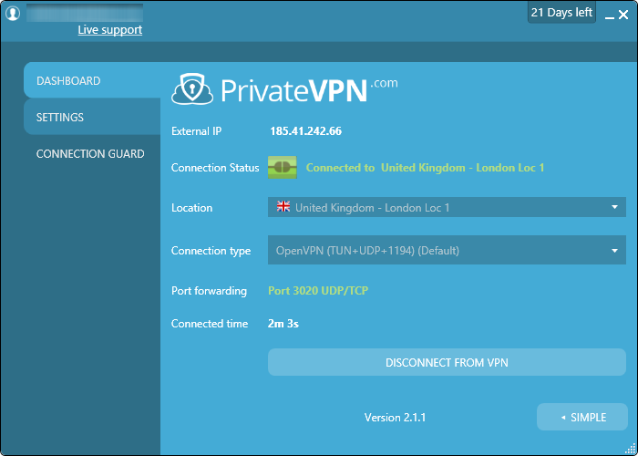 privatevpn advanced interface
